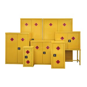 a range of hazardous cabinets for storing